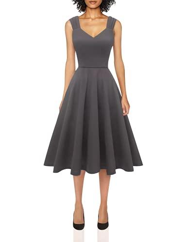 DRESSTELLS Damen A Linie Casual Kleid festlich Petticoat Kleid Damen Moderne Kleid Audrey Hepburn Kleider Darkgrey S