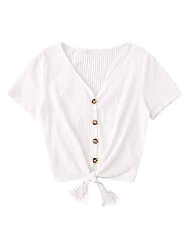 DIDK Damen Sommer Top T-Shirt Oberteil mit Knöpfe Vorn Kurzarmshirt Sommershirt Knoten Tops Weiß M