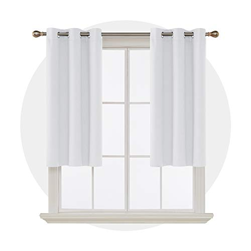 Deconovo Thermal Insulated Darkening Curtains for Living Room Set of 2 Panels with Tiebacks, 38x45 Inch Grommet Top, Off White