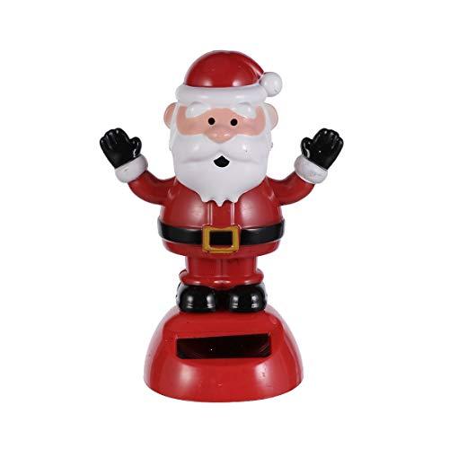 Amosfun - Juego de 3 Figuras navideñas solares para Decorar la Cabeza de Baile, Juguete de Santa Elf, árbol de Navidad, Figuras para el Coche, decoración de Navidad, Regalos, Bolsas de llenado