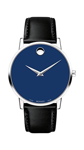 Movado Men's Museum Stainless Steel Watch with Concave Dot, Silver/Blue/Black Strap (Model 607270)