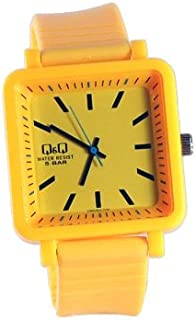 Q&Q Men's Yellow Dial Silicone Band Watch - VQ92J003Y