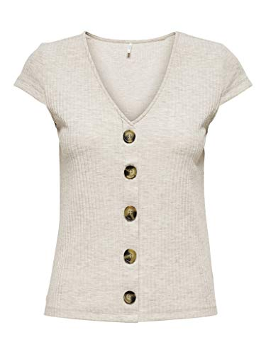 ONLY Womens ONLNELLA S/S Button TOP NOOS JRS T-Shirt, Detail:Melange Pumice Stone, S
