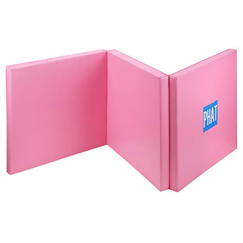 Tri-Fold Exercise Mat Thick Gym Mat Fitness Mat w/PU Leather for Gymnastics, Yoga, Aerobics, Martial Arts, Lightweight and Portable Tumbling Mats - PHAT (Pink)