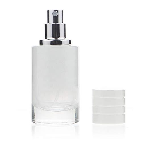Botella cilíndrica vacía del gradiente de la botella de perfume de cristal 30ml con el atomizador de la niebla fina (blanco)