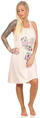 Good Deal Market Damen Sleepshirt - Feminine Nachtwäsche Gr. L apricot kurzes Nachthemd mit niedlichem Aufdruck Spaghettiträger in modischen Sommerfarben Ideal für Damen