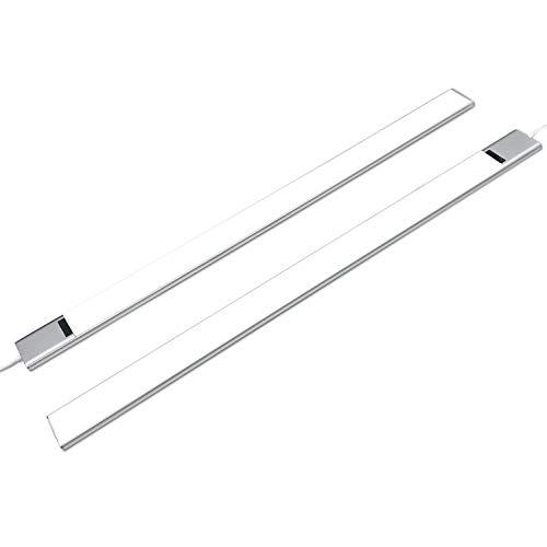 Anten-Ezvalo Freyja | 2er Led dimmbare Küche Unterbauleuchte 60 cm mit berührungslos Sensor-Schalter und Stecker | ultra flach | 5,9 W Neutralweiß 4000K für Küche, Arbeitsplatz.