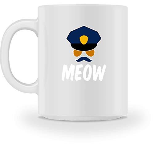 Generic MEOW - Sheriffkatze Mit Schnäuzer, Kappe Und Brille - Tasse