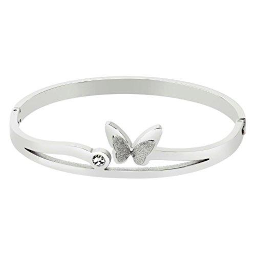 AnazoZ Joyería de Moda Acero Inoxidable Pulsera de Mujer Forma Mariposa y Redonda CZ Plata Pulsera para Mujer