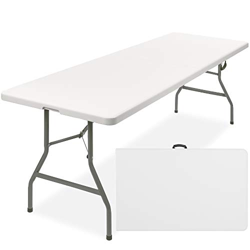 Best Choice Products 8ft Indoor Outdoor Heavy Duty Portable Folding Plastic Dining Table w/Handle, Lock for Picnic, Party, Camping - White