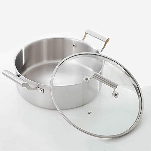 NBVCX Home Accesorios Stockpots Olla de acero inoxidable con tapa de cristal Olla con doble asa a prueba de calor 32 * 10.8Cm