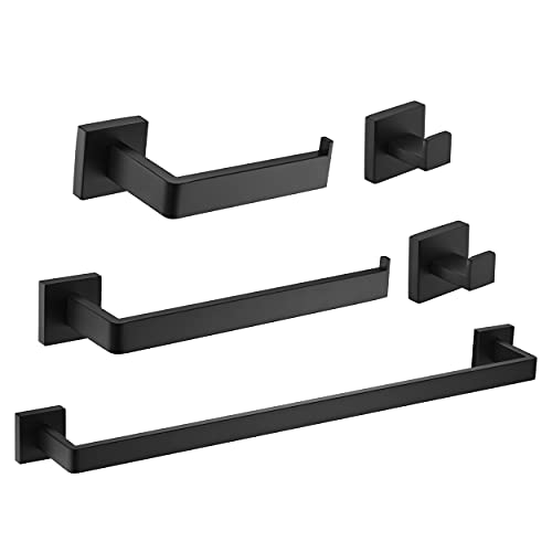 5 Pieces Matte Black Bathroom Hardware Accessories Set 16 inch Towel Bar Toilet Paper Holder Towel Hooks 2 Pieces Square SUS 304 Stainless Steel Heavy Duty Wall Mounted Bathroom Holder