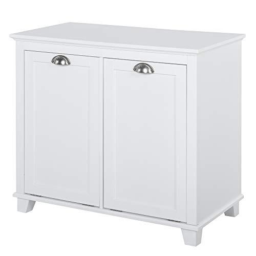 HOMCOM Laundry Room Organization and Storage Cabinet Furniture with 2 Tilt Out Hamper Design, White