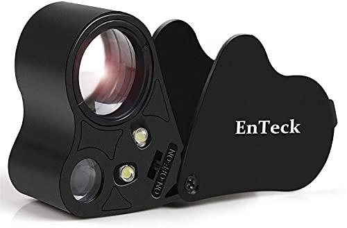 EnTeck 30X 60X Dual Lens LED Illuminated Jewelry Magnifier, Pocket Microscope...