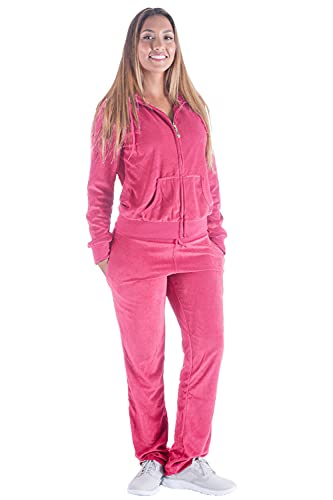 Womens Velvet Sweatsuit Zip Up Hoodie Velour Tracksuits Long Sleeve Lounge Wear Solid Sportwear Joggers Outfits Pink Large
