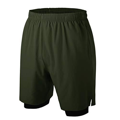 Herren 2 in 1 Sport Shorts Schnell Trocknend Sporthose Kurze Hosen mit Reißverschlusstaschen (Armee Grün 3XL)