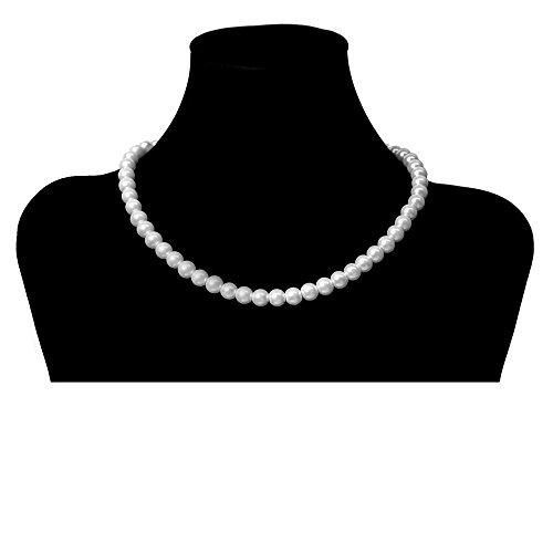 SoulCats Eine süße Kette Perlenkette Perlen viele Farben XXL kurz pink blau Creme, Farbe:weiß;Kettenlänge:42 cm