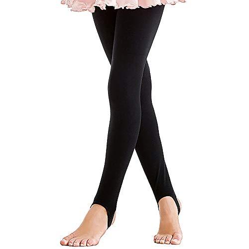ZNYUNE Mädchen Kinder Ballett Tanz Strumpfhose Gymnastik Steg Leggings Hose Fitnesshose Schwarz 5 6 Jahre