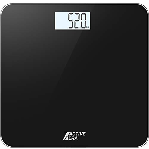 Active Era™ Pèse-personne électronique, Balance Design et ultra fine avec Capteurs Haute Précision (kg,lbs,stone) - Noir