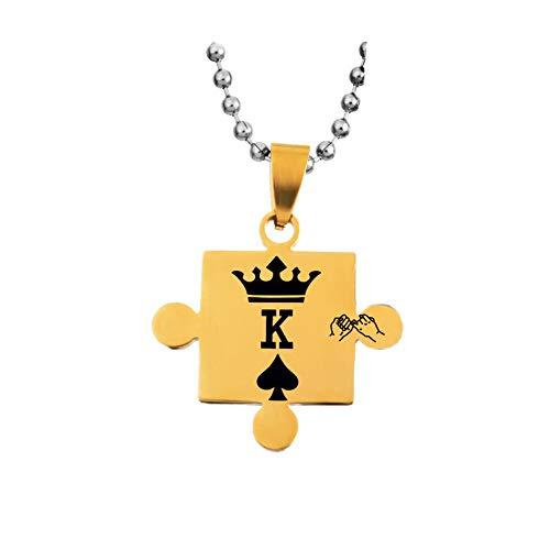 yunshenbuzhichu Liebhaber Edelstahl Puzzle Königin und König Anhänger Halskette für Frauen der Männer-Paare Schmuck,Gold