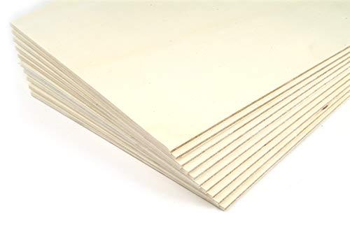 blank - Sperrholz Platten Pappelsperrholz für Laubsäge und Bastelarbeit 4mm 10 x 10 cm 10 Stück Vorteil Set, Modellbau, kreativ Hobby, Bastelholz - Spaß für Kinder und Erwachsene