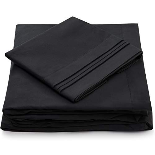 Twin Size Sheet Set - 3 Piece - Deep Pocket Twin Sheets - Extra Soft, Hypoallergenic, Cool & Breathable Bedding - Wrinkle, Stain & Fade Resistant Bedset (Twin, Black)