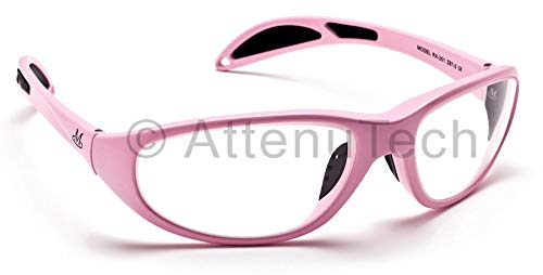 Lead Glasses X-Ray Radiation Eye Protection, Microlite Plus Pink Wrap-Around Nylon Frame with Soft Grip Temple Bars