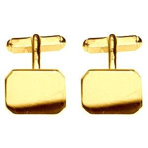 Boutons de manchette en or 18 carats pivotantes plaine 18x12mm d'angle de coupe