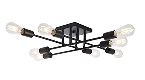 Lámpara De Techo De Viento Industrial, 8 Luces Retro Cocina Comedor Ceiling Light Enchufe E27 Dormitorio De Metal Negro Sala De Niños Accesorios De Techo