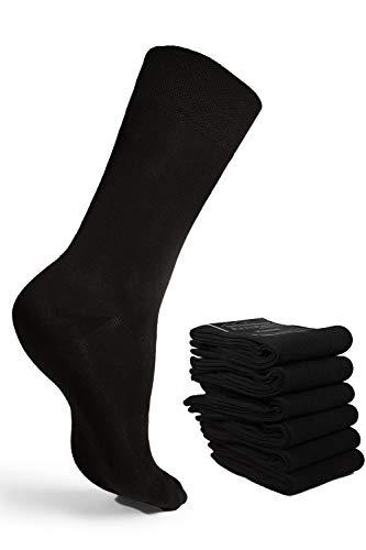 ArnsteiN Premium 6 Paar schwarze/farbige Herrensocken-Größen 39-46-klassische Socken Freizeit/Arbeit-Damen Herre-Öko Tex 100 zertifiziert-hochwertige Baumwolle ohne Gummi (schwarz, 43-46)