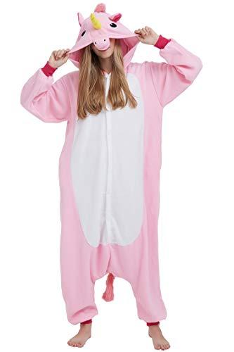 Disfraz de Animal Unisex para Adulto Sirve como Pijama o Cosplay Sleepsuit de una Pieza (Unicornio Rosa, L)