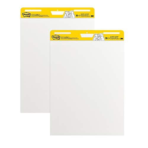 Post-It, Flipchart Blöcke mit 2 x 30 selbstklebenden weißen Blättern, Weißwandtafel für Meetings, Meeting Chart mit Blanko Seiten, Whiteboard in der Größe 63,5 cm x 77,5 cm, 2 Blöcke