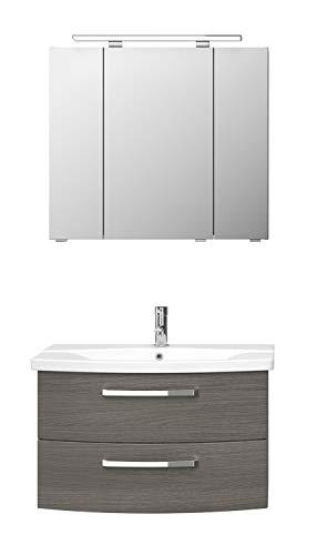 Pelipal FOKUS 4010 Bad Möbel Set (3 teilig) / Graphit Struktur, Spiegelschrank, Keramikwaschtisch, Unterschrank, LED Beleuchtung