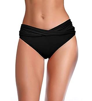 SHEKINI Women s Cheeky Swimsuit Twist Front Bikini Bottoms Ruched Swim Bottoms  Black X-Large
