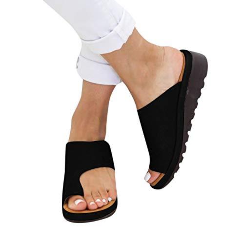 Huhu833 Damen Sandalen Hausschuhe Big Toe Hallux Valgus Für Die Behandlung Frauen Open Toe Flache Pantoffeln Sommer Outdoor Damen Strand Schuhe rutschfeste Badelatschen (Schwarz, 38 EU)