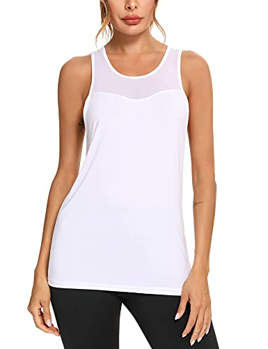 Wayleb Camiseta sin Mangas Mujer Deporte Verano Tank Top Camiseta Tirantes Deportivo para Running Fitness Yoga,Blanco,M