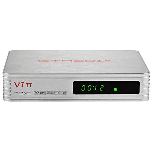 GT MEDIA V7 TT DVB-T/T2 Decodificador TDT Sintonizador, Receptor de TV por Terrestre Cable con Antena WiFi USB / Ethernet, H.265 HEVC 10bit Full HD 1080p, Soporte Youtube CCcam EPG Multi-PLP