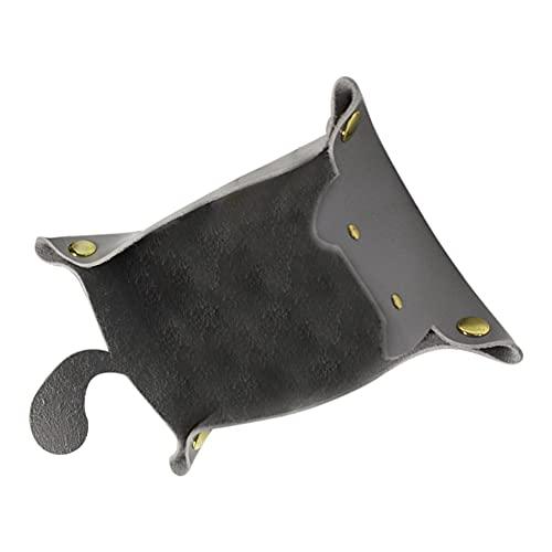 Bandejas organizadoras de piel sintética para joyas, accesorios de cocina, bandeja de almacenamiento en forma de gato, soporte para entradas, llave de cabecera (color: gris)