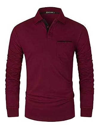 GHYUGR Polos Hombre Manga Larga con Bolsillo Colores de Contraste Poloshirt Camisa Otoño Golf T-Shirt Trabajo Camisetas,Rojo,L
