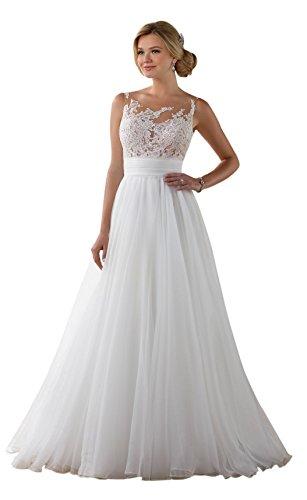 Nanger Damen Tüll Hochzeitskleider Standesamt Lange mit Appliques Brautkleider Boho Bohemien (Weiß, 54)