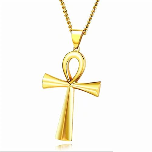 Egypte Ankh Croix Pendentif Collier pour Femmes Hommes Clé de Vie en Acier Inoxydable Égyptien Chaîne Collier Hip Hop Bijoux Cadeau