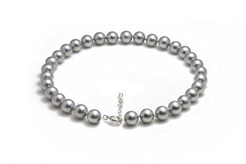 Schmuckwilli Damen Muschelkernperlen Perlenkette aus echter Muschel silbergrau 45cm 12mm mk12mm138-45
