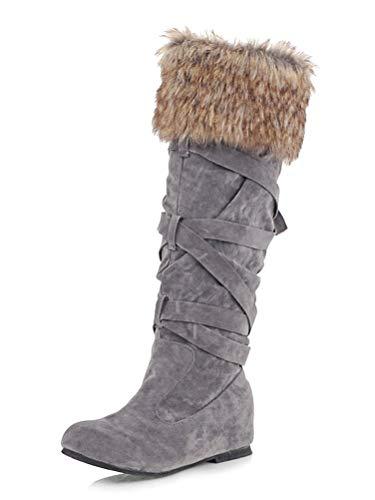 Minetom Damen Material Mix Long Rain Boot Hohe Stiefel Grau 38 EU