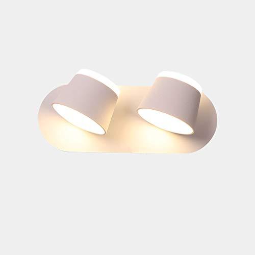 Luce de Pared LED Giratoria 350 ° Lámparas de Pared Dormitorio Interior con Interruptor Pantalla de Aluminio Blanco Luz de Lectura Luce de Noche Brillante Moderno Sala de Estar Plana Bar 2 Llamas