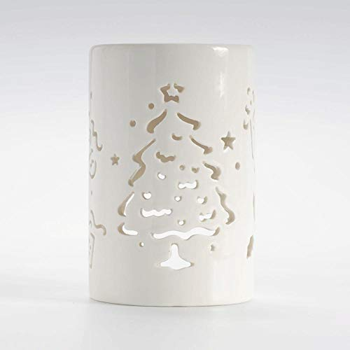 Mdcgok Christmas candle holder, compact, portable, safe and durable cylindrical ceramic candle holder, can be used for family bedroom decoration