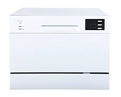 SPT Compact Countertop Dishwasher with Delay Start - Energy Star Portable Dishwasher with Stainless Steel Interior and 6 Place Settings Rack Silverware Basket/Apartment Office And Home Kitchen, White