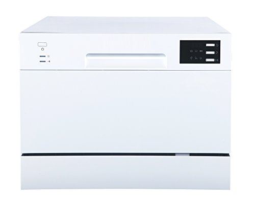 SPT SD-2225DW Compact Countertop Dishwasher/Delay Start-Energy Star Portable Dishwasher with Stainless Steel Interior and 6 Place Settings Rack Silverware Basket/Apartment Office Home Kitchen, White