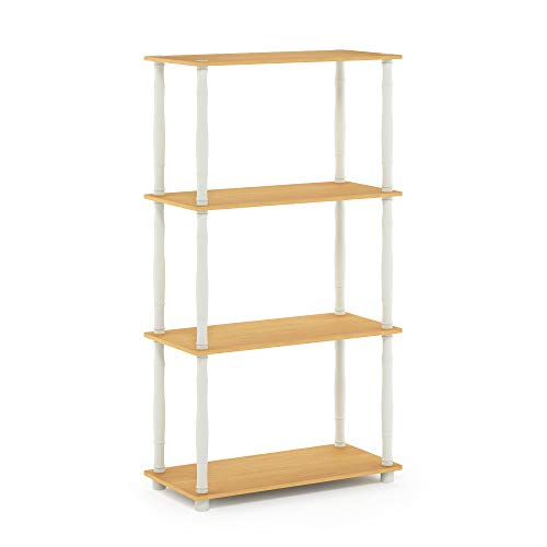Furinno Turn-N 4-Tier Multipurpose Shelf Display Rack with Classic Tubes, Beech/White -  18034BE/WH