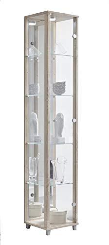 BR-Wohndesign Glasvitrine 172x32x33 cm in Sonoma Eiche mit 4 Glasböden, Spiegel und LED, perfekt für Sammler