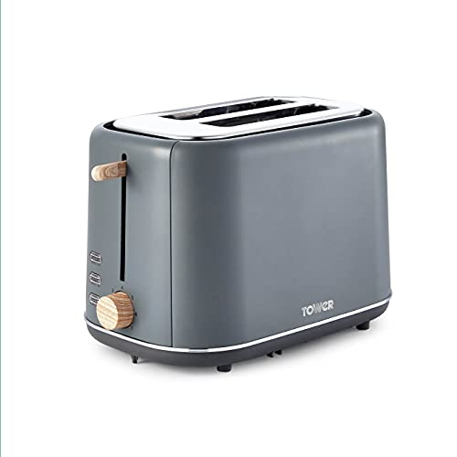 Tower Scandi T2002G 2 Slice Toaster with Adjustable Browning Control, Grey